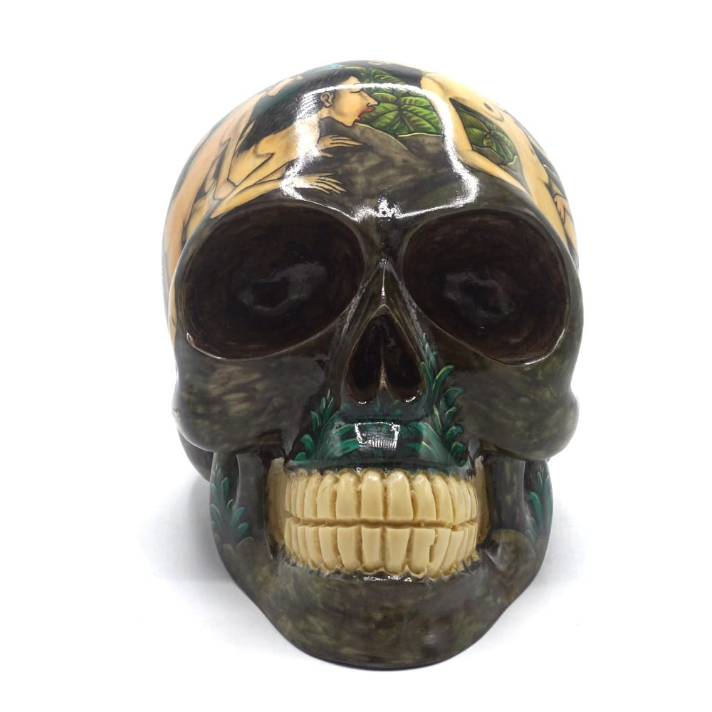 HAND PAINTED BALI SCENE RESIN SKULL - KAMASUTRA - LARGE