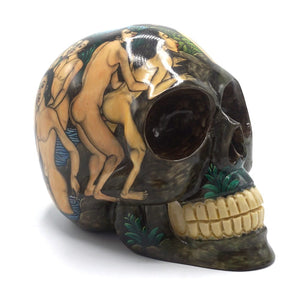 HAND PAINTED BALI SCENE RESIN SKULL  - LARGE - 'KAMASUTRA'