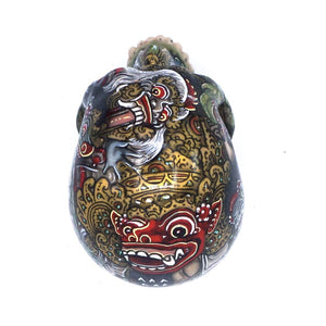 HAND PAINTED BALI SCENE RESIN SKULL - BARONG - SMALL