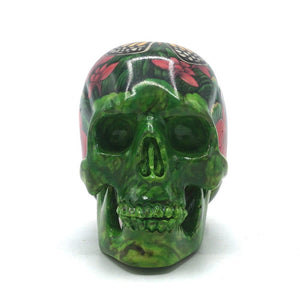 HAND PAINTED BALI SCENE RESIN SKULL - BUTTERFLY - SMALL