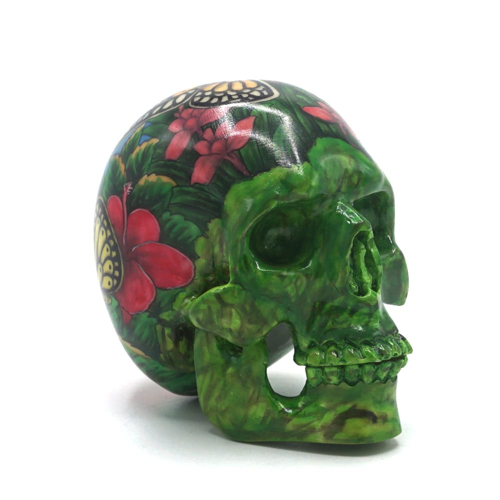 HAND PAINTED BALI SCENE RESIN SKULL  - SMALL - 'BUTTERFLY'