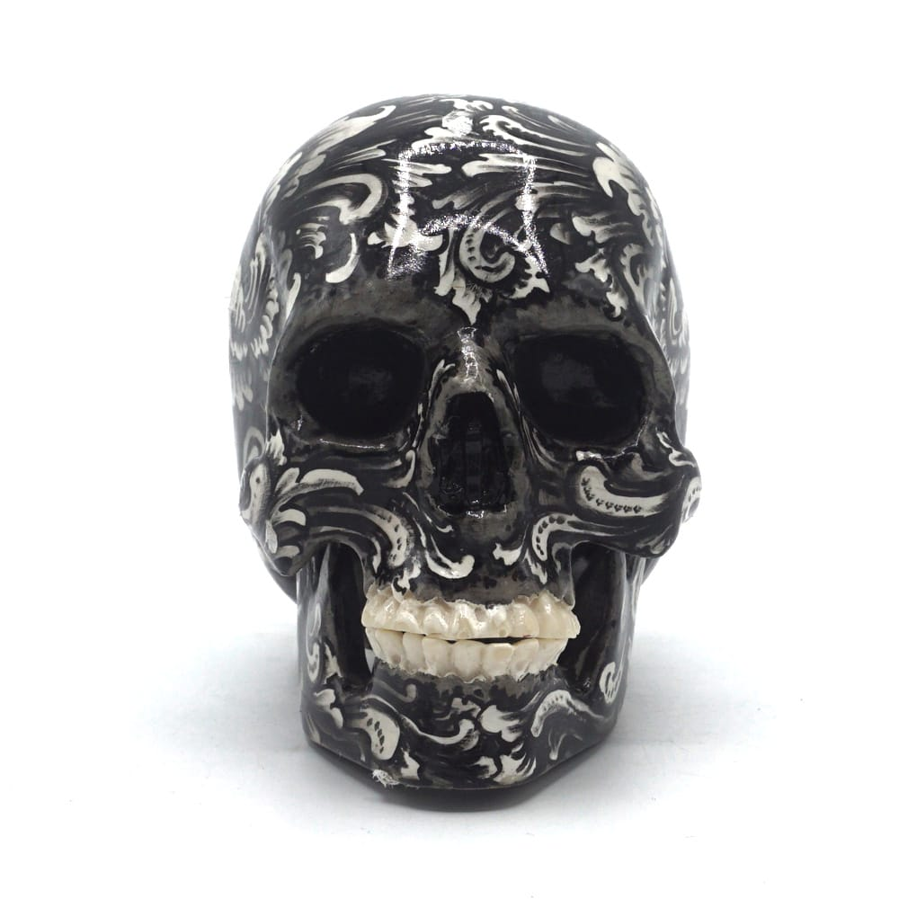 HAND PAINTED BALI SCENE RESIN SKULL - BALI FLOWER - SMALL