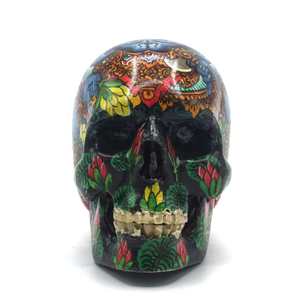 HAND PAINTED BALI SCENE RESIN SKULL - SMALL  - 'GANESHA'