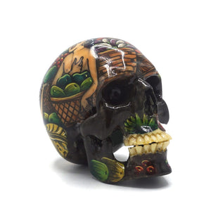 HAND PAINTED BALI SCENE RESIN SKULL - SMALL  - 'MARKET'