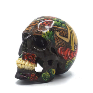 HAND PAINTED BALI SCENE RESIN SKULL - MARKET - SMALL