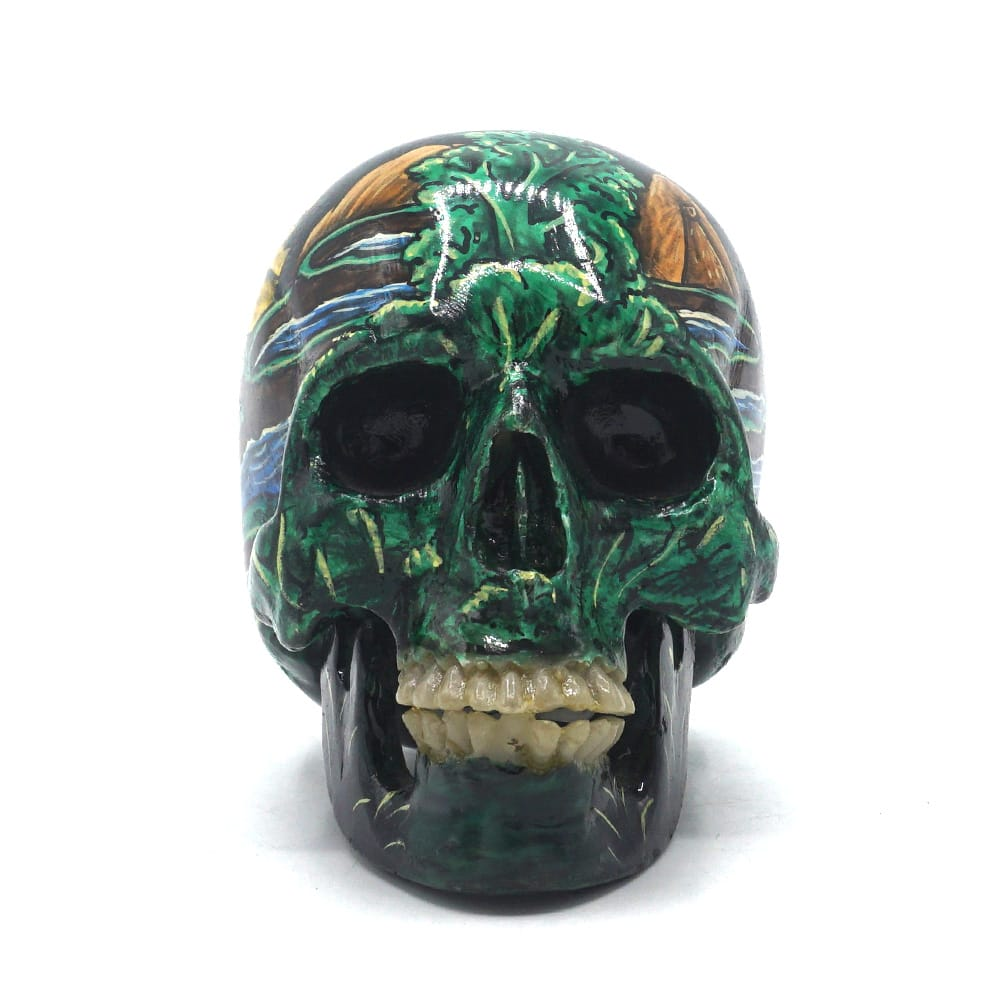 HAND PAINTED BALI SCENE RESIN SKULL - RICE FIELD - SMALL