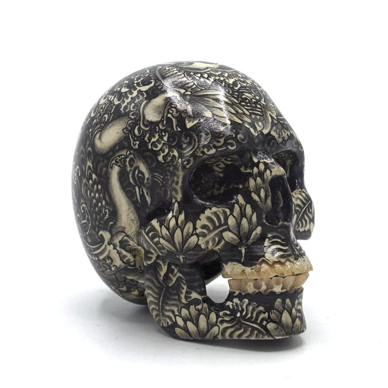 HAND PAINTED BALI SCENE RESIN SKULL - SMALL - 'SARASWATI B&W '