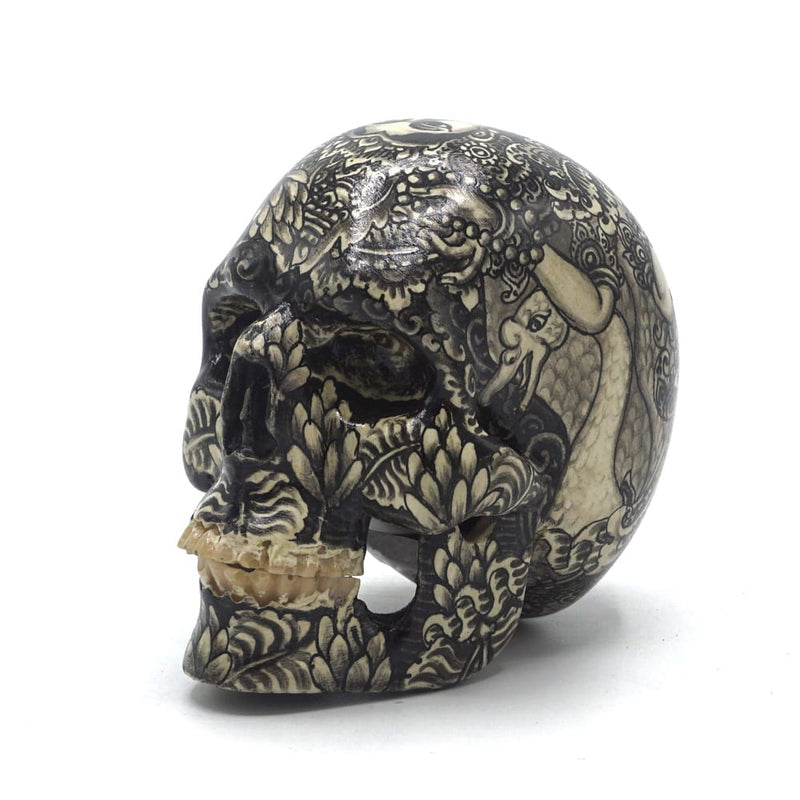 HAND PAINTED BALI SCENE RESIN SKULL - SARASWATI B/W - SMALL