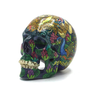 HAND PAINTED BALI SCENE RESIN SKULL - SARASWATI COLOR - SMALL
