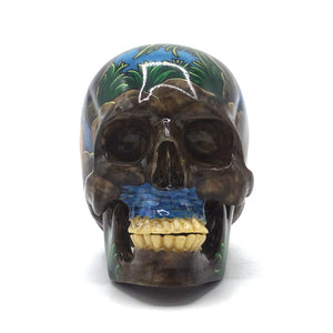HAND PAINTED BALI SCENE RESIN SKULL - SMALL - 'KAMASUTRA'