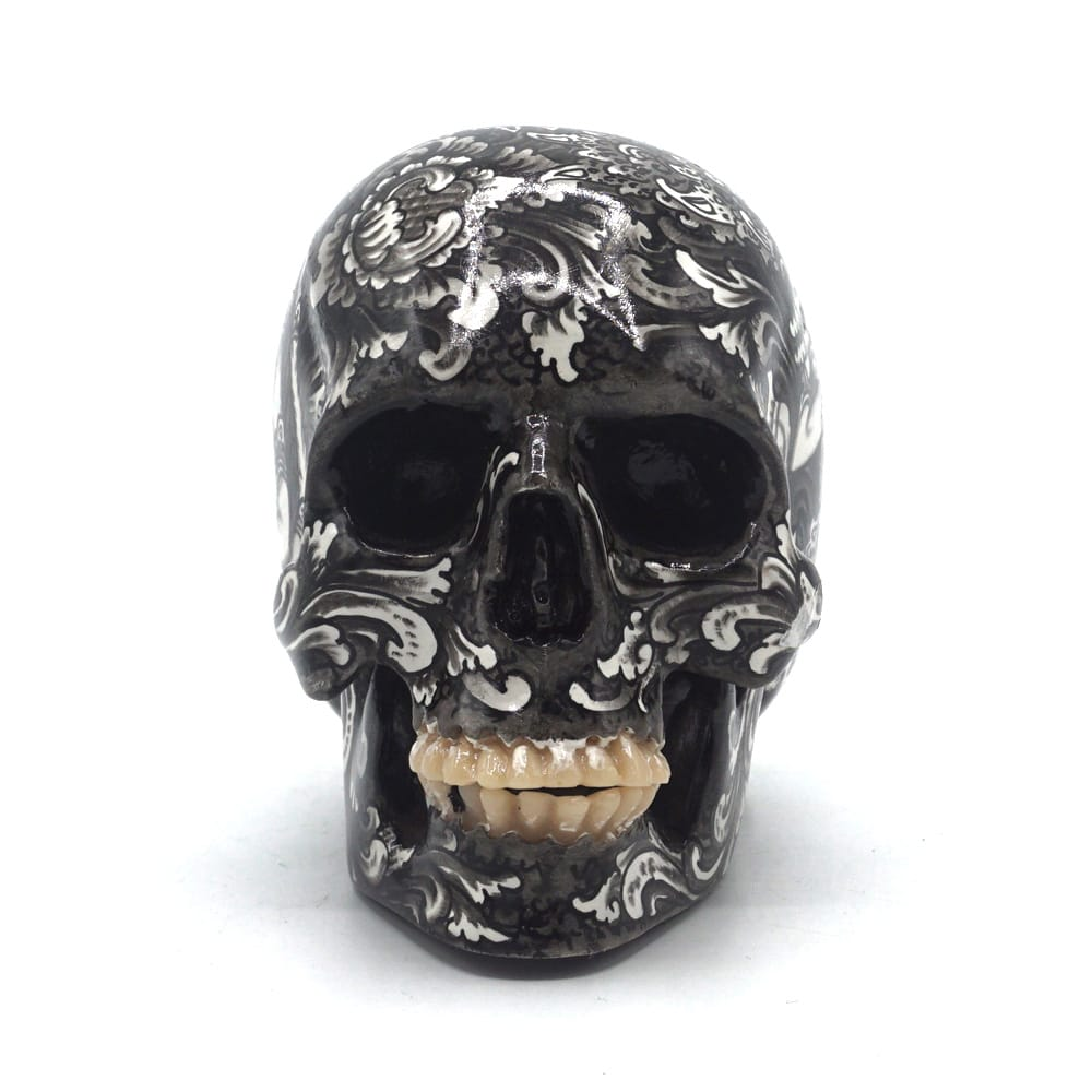 HAND PAINTED BALI SCENE RESIN SKULL - SITARAM - SMALL