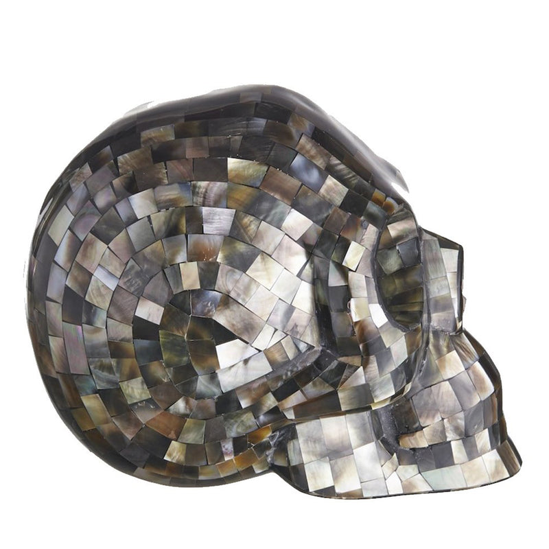LIGHT BLACK MOTHER OF PEARL MOSAIC SHELL SKUL - LARGE - 'BLACK TO THE FUTURE'