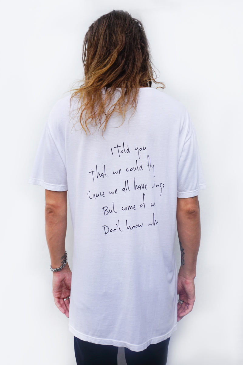 PRE-ORDER - 'HUTCH' LONG T-SHIRT - WHITE - SAVE 15% TODAY ENTER CODE: 'HUTCH15' AT THE CHECKOUT