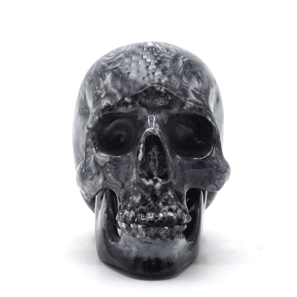 SMALL RESIN SKULL - BLACK MARBLE