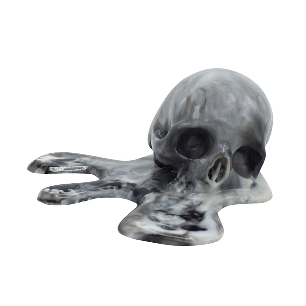 MELTED RESIN SKULL - BLACK MARBLE - 'MELTING IN THE SUN'