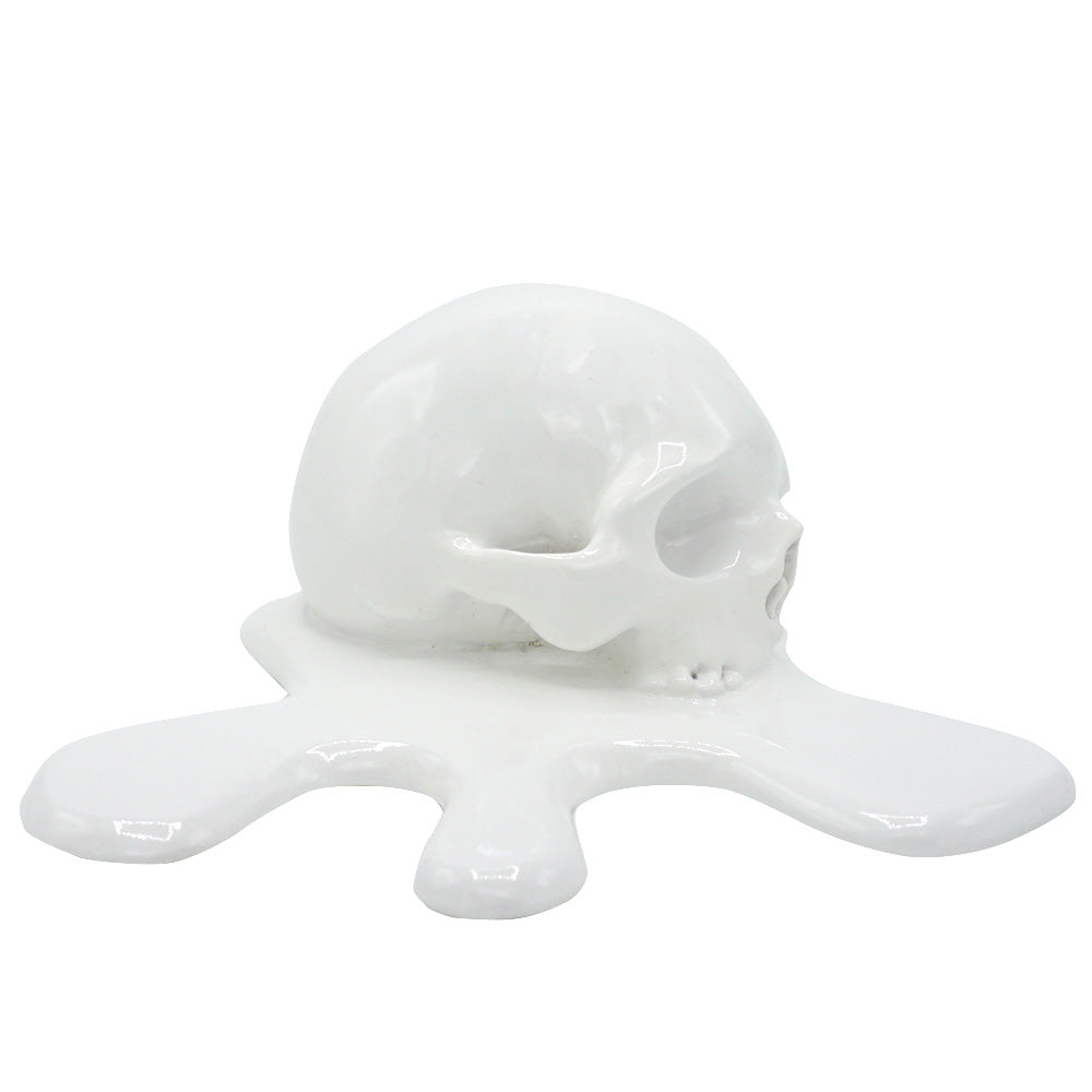 'MELTING IN THE SUN' - MELTED RESIN SKULL - WHITE