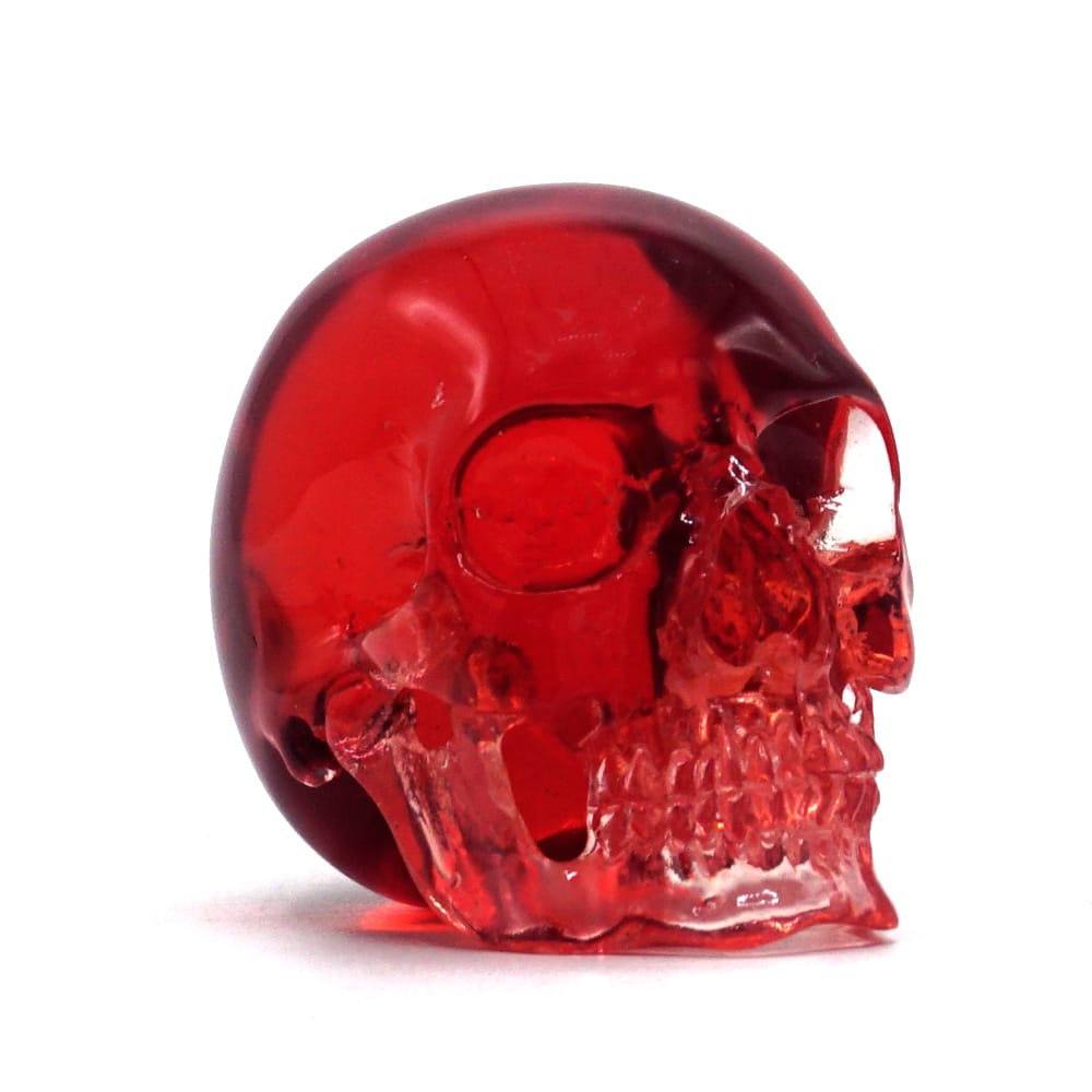 MINI RESIN SKULL - TRANSPARENT RED