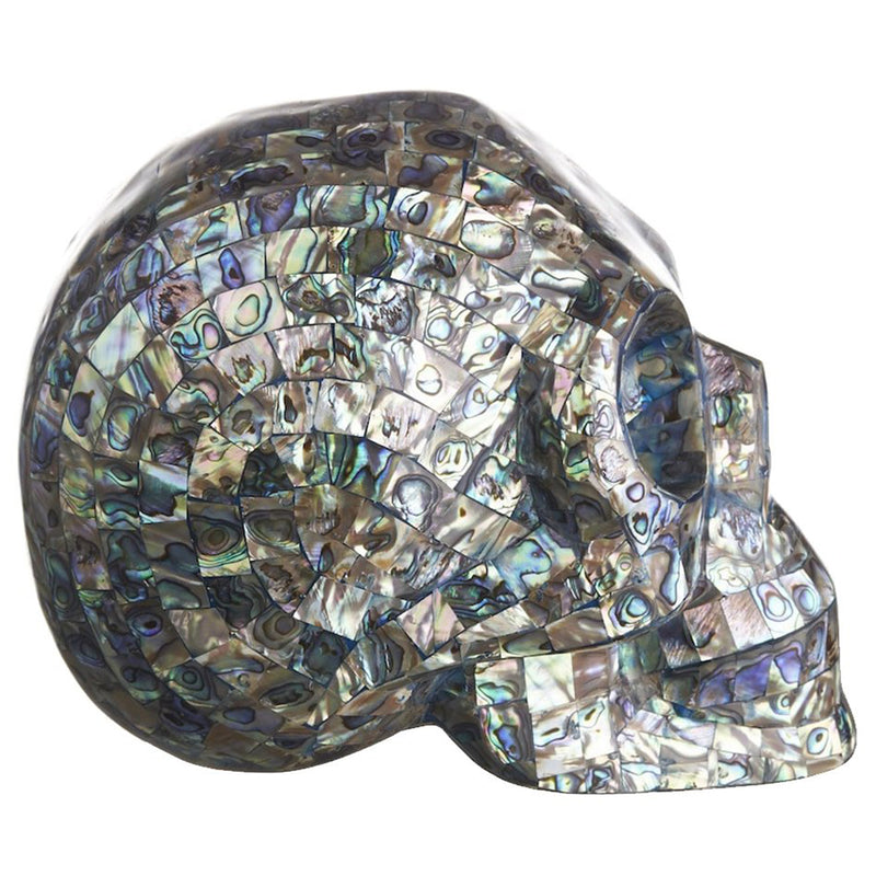 NEW ZEALAND ABALONE MOSAIC SHELL SKULL - LARGE - 'PAUA TO THE PEOPLE'