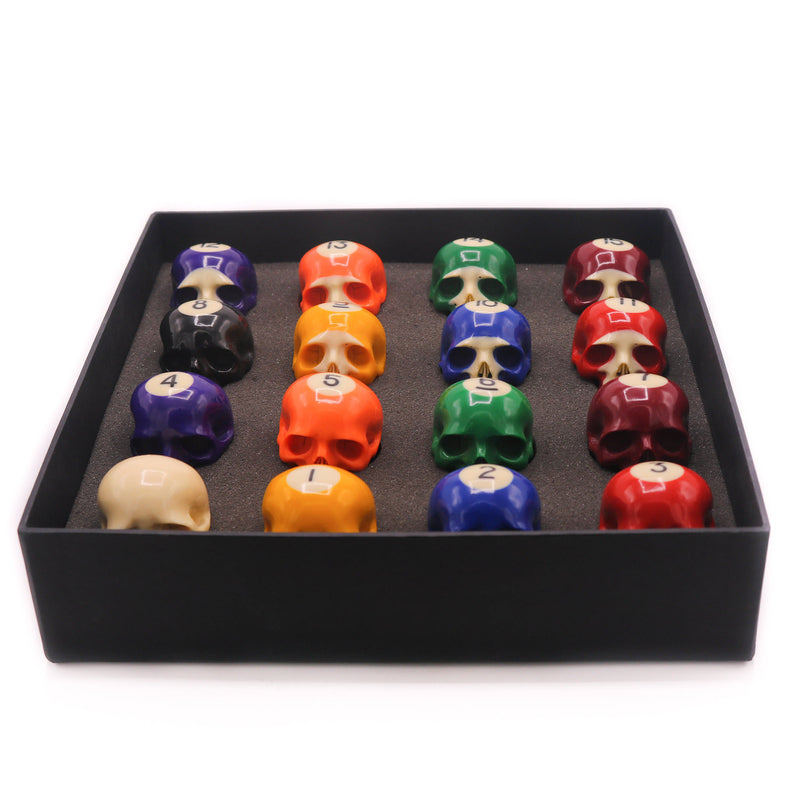 PREORDER - HAND CARVED POOL BALL SKULL - SET