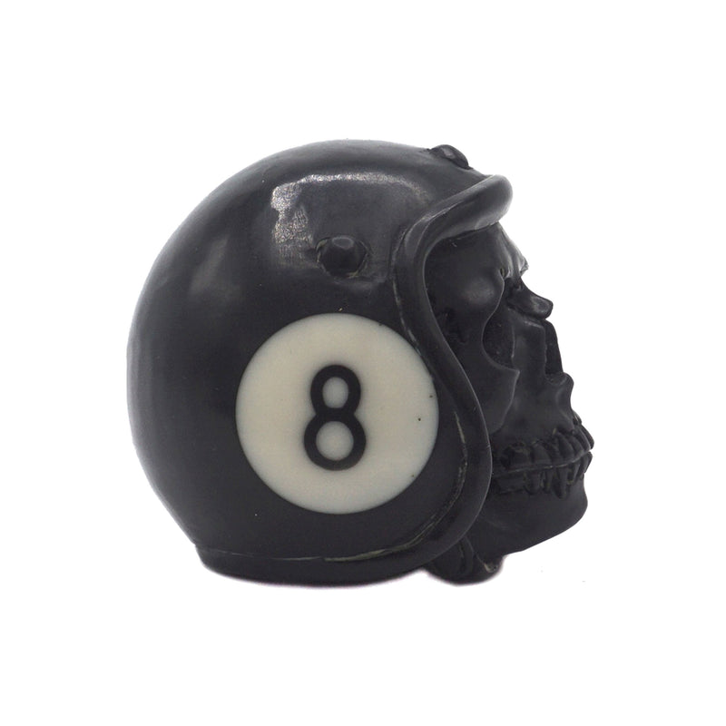 HAND CARVED HELMET POOL BALL SKULL - BLACK #8