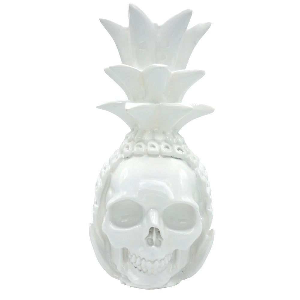 RESIN SKULL PINEAPPLE - WHITE