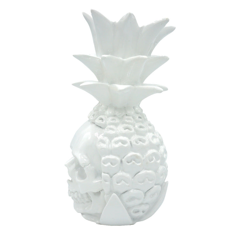 RESIN PINEAPPLE SKULL - WHITE