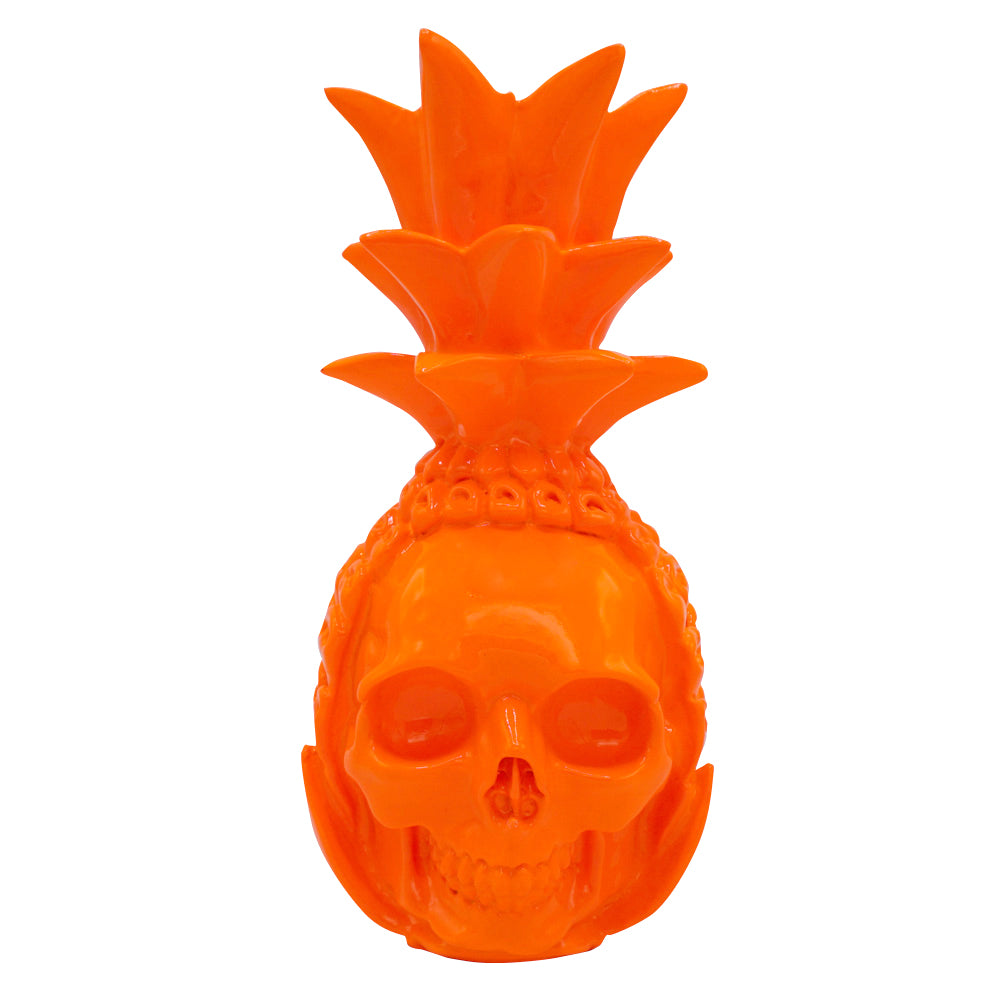 RESIN PINEAPPLE SKULL - ORANGE