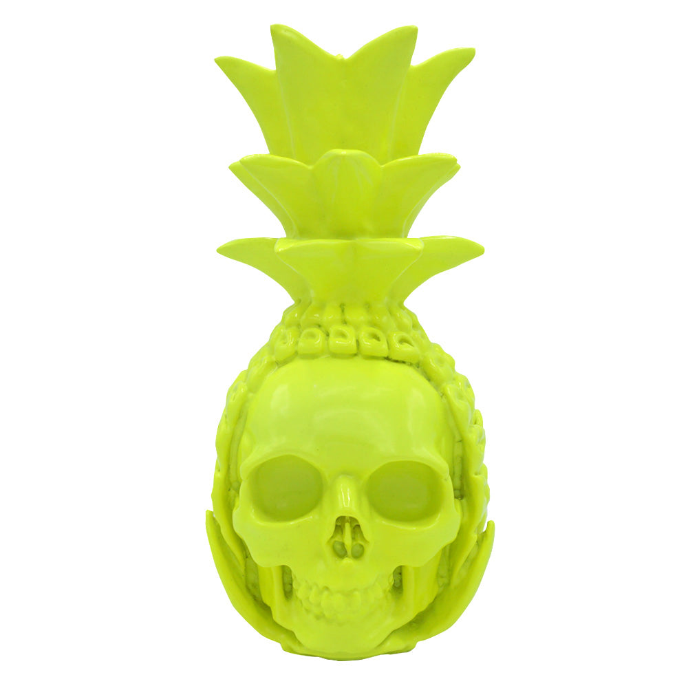 RESIN PINEAPPLE SKULL - YELLOW