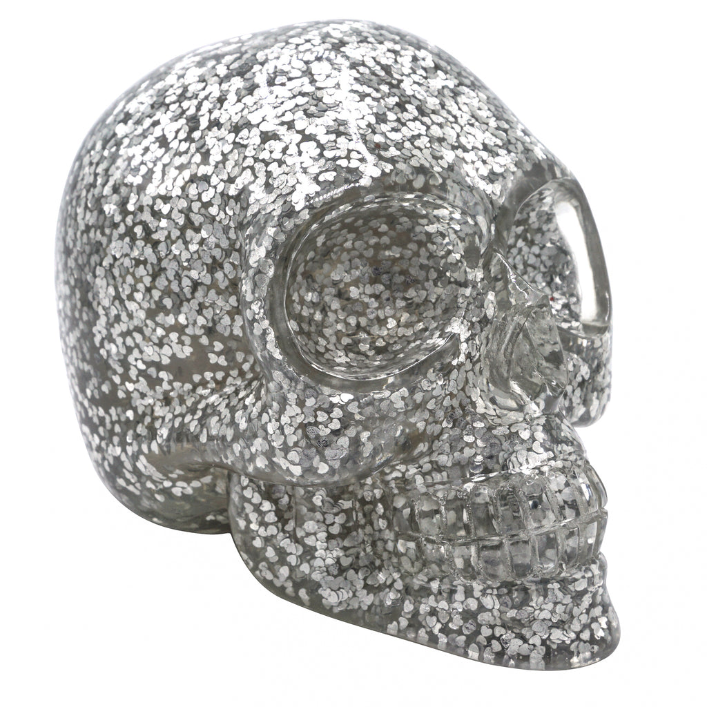CLEAR RESIN SKULL - SILVER HEART CONFETTI