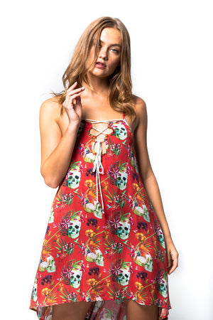 'MAYA' RED HAWAIIAN STRAP DRESS