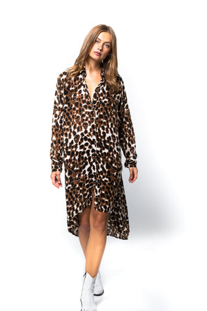 'PHOEBE' LEOPARD SHIRT DRESS