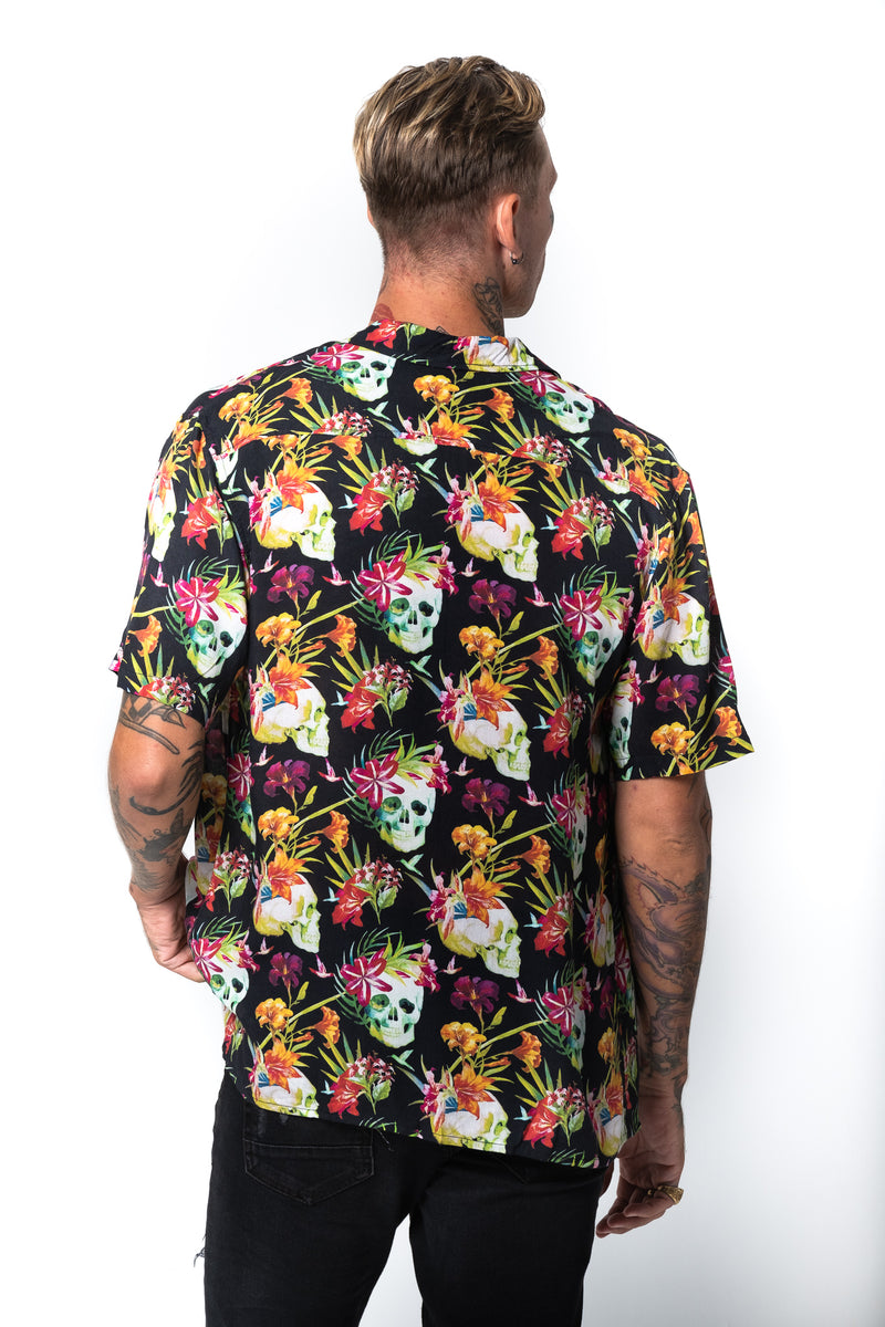 'KAI' BLACK HAWAIIAN SHIRT