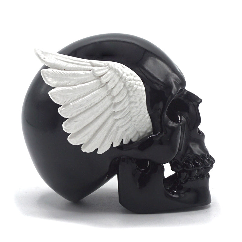 RESIN WINGED SKULL - BLACK