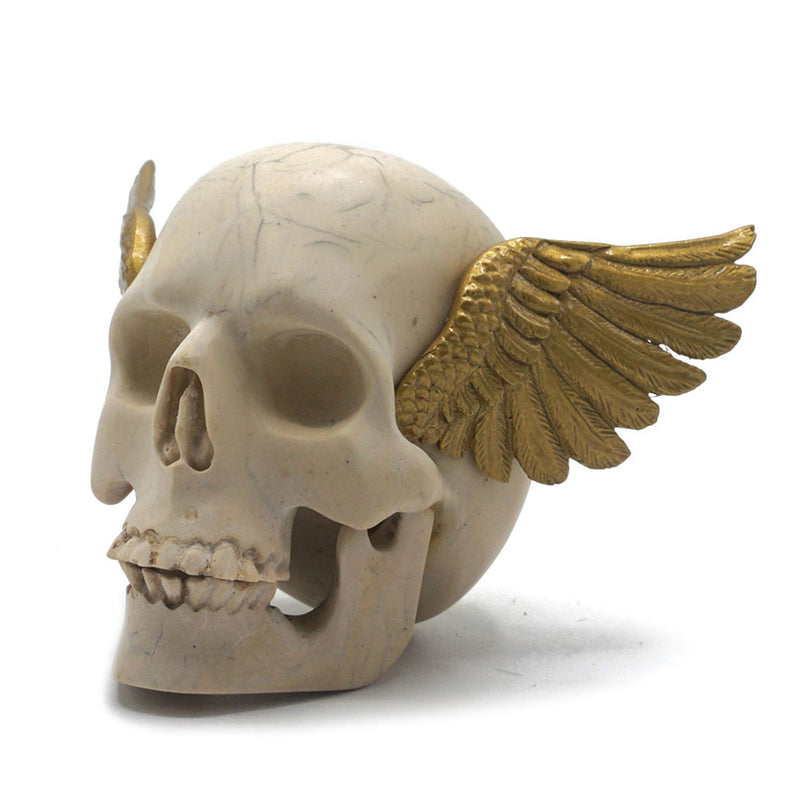 RESIN WINGED SKULL - CRACK