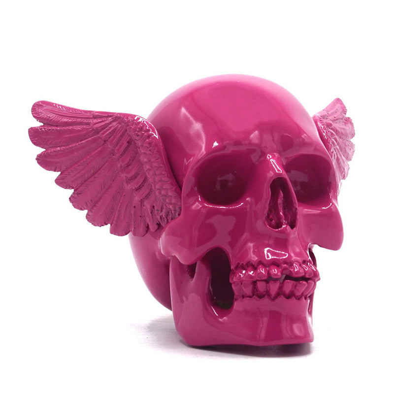 RESIN WINGED SKULL - PINK