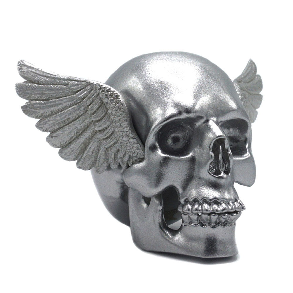 RESIN WINGED SKULL - SILVER