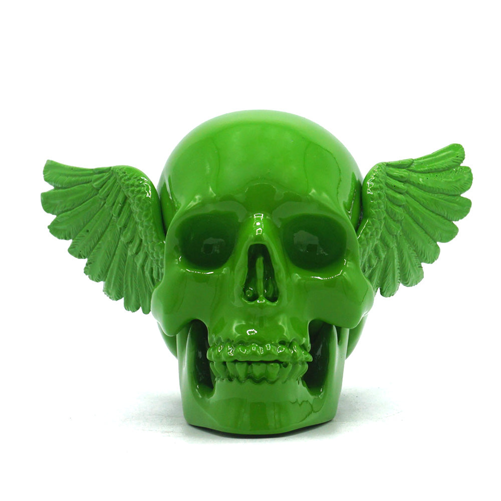 RESIN WINGED SKULL - GREEN