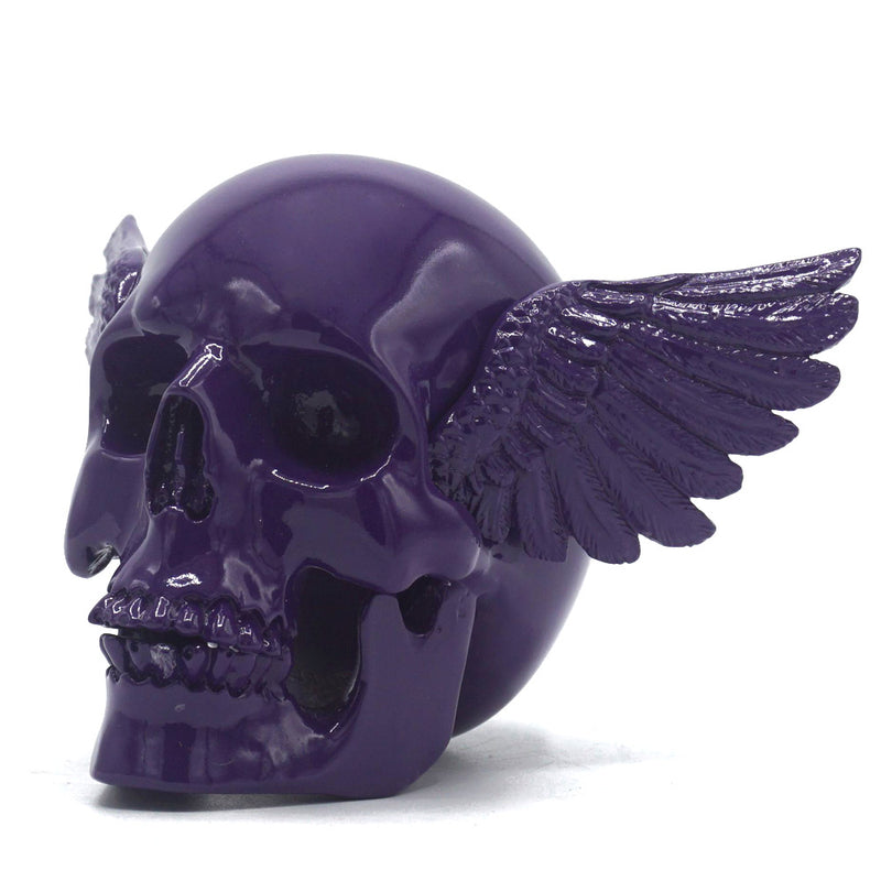 RESIN WINGED SKULL - PURPLE