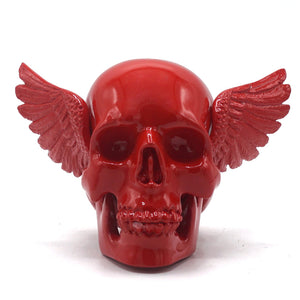 RESIN WINGED SKULL - RED
