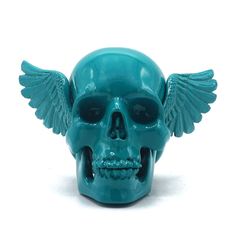 RESIN WINGED SKULL - TURQUOISE