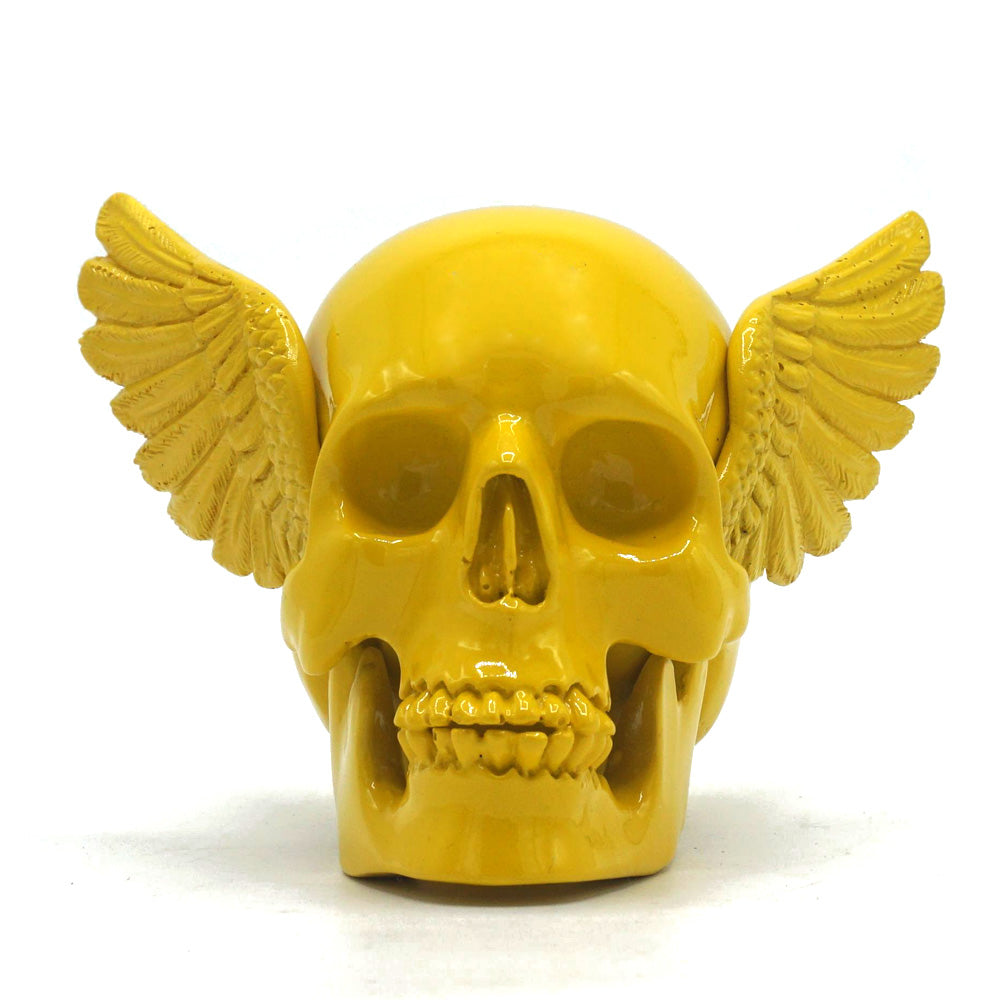 RESIN WINGED SKULL - YELLOW