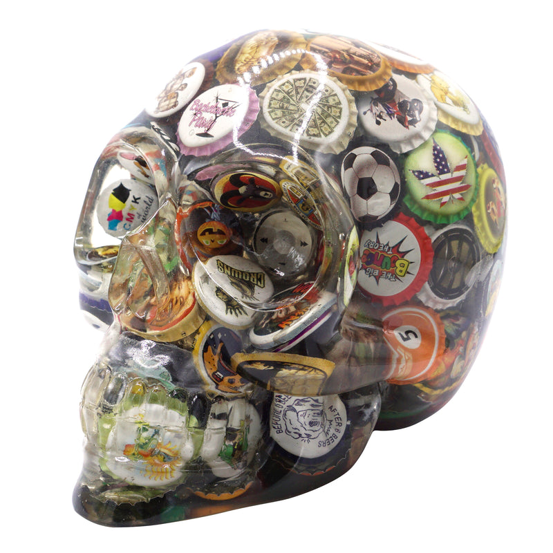 CLEAR RESIN SKULL - VINTAGE BOTTLE CAPS - 1