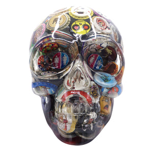 CLEAR RESIN SKULL - VINTAGE BOTTLE CAPS - 3