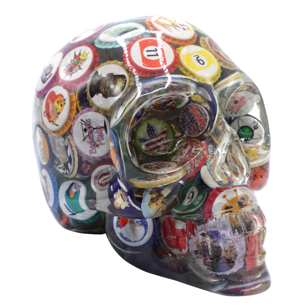 CLEAR RESIN SKULL - VINTAGE BOTTLE CAPS - 4