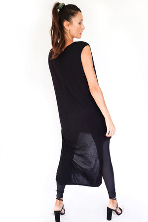 'LUNA' ASYMMETRIC TEE DRESS - BLACK