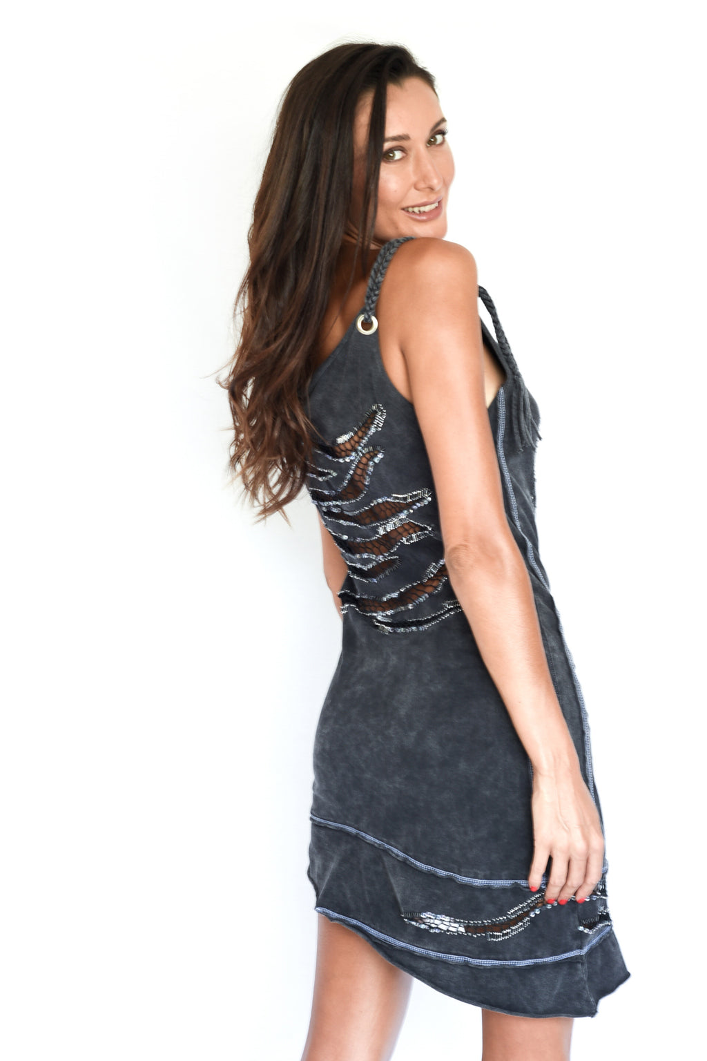 'PAMELA' CUT OUT DRESS - CHARCOAL