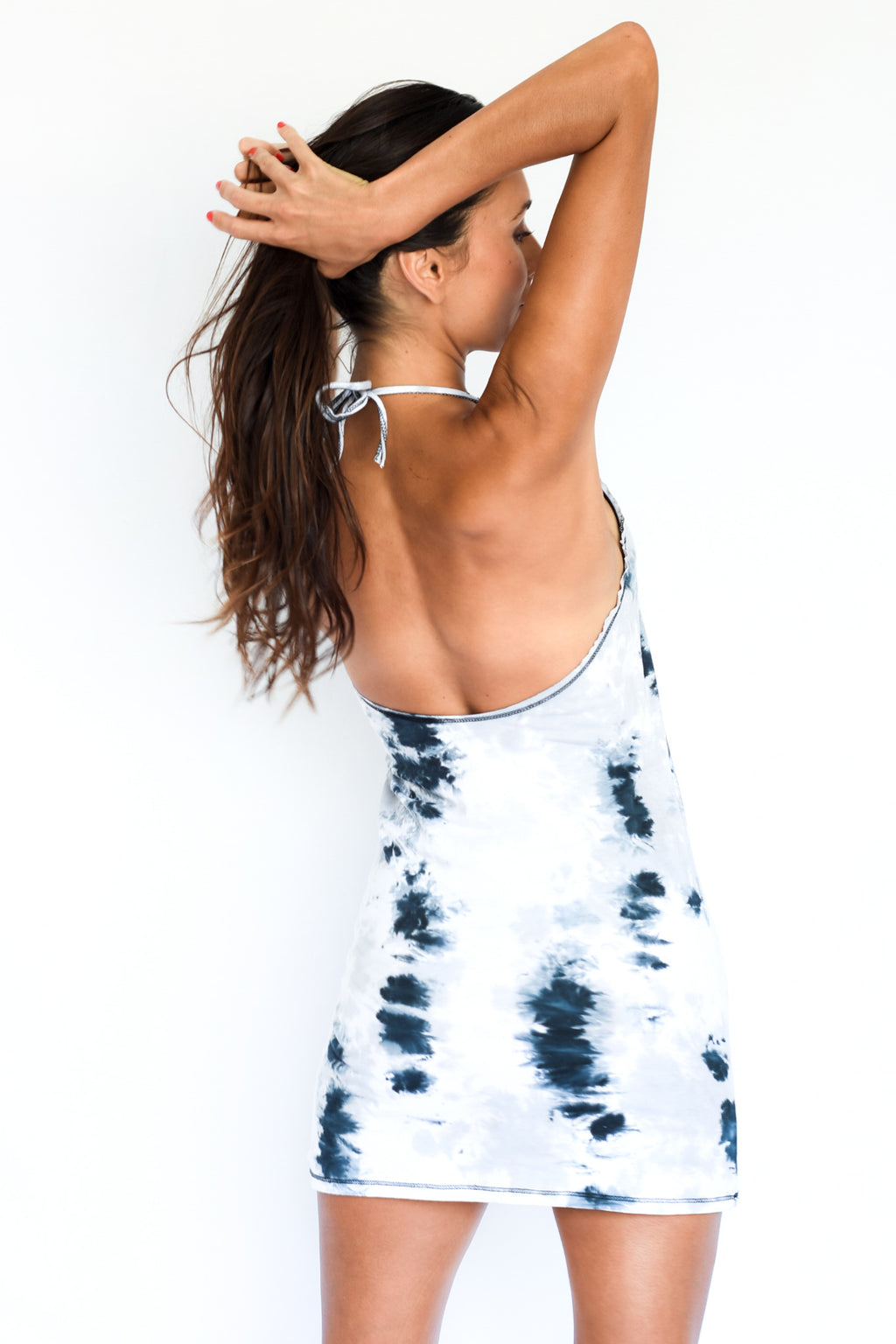 'NEVER EVER' BACKLESS HALTER MINI DRESS