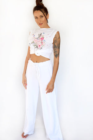 PRE-ORDER - 'BE REAL' WIDE LEG SWEATPANTS - WHITE