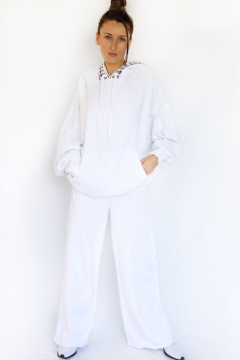 BE REAL WIDE LEG SWEATPANTS - WHITE