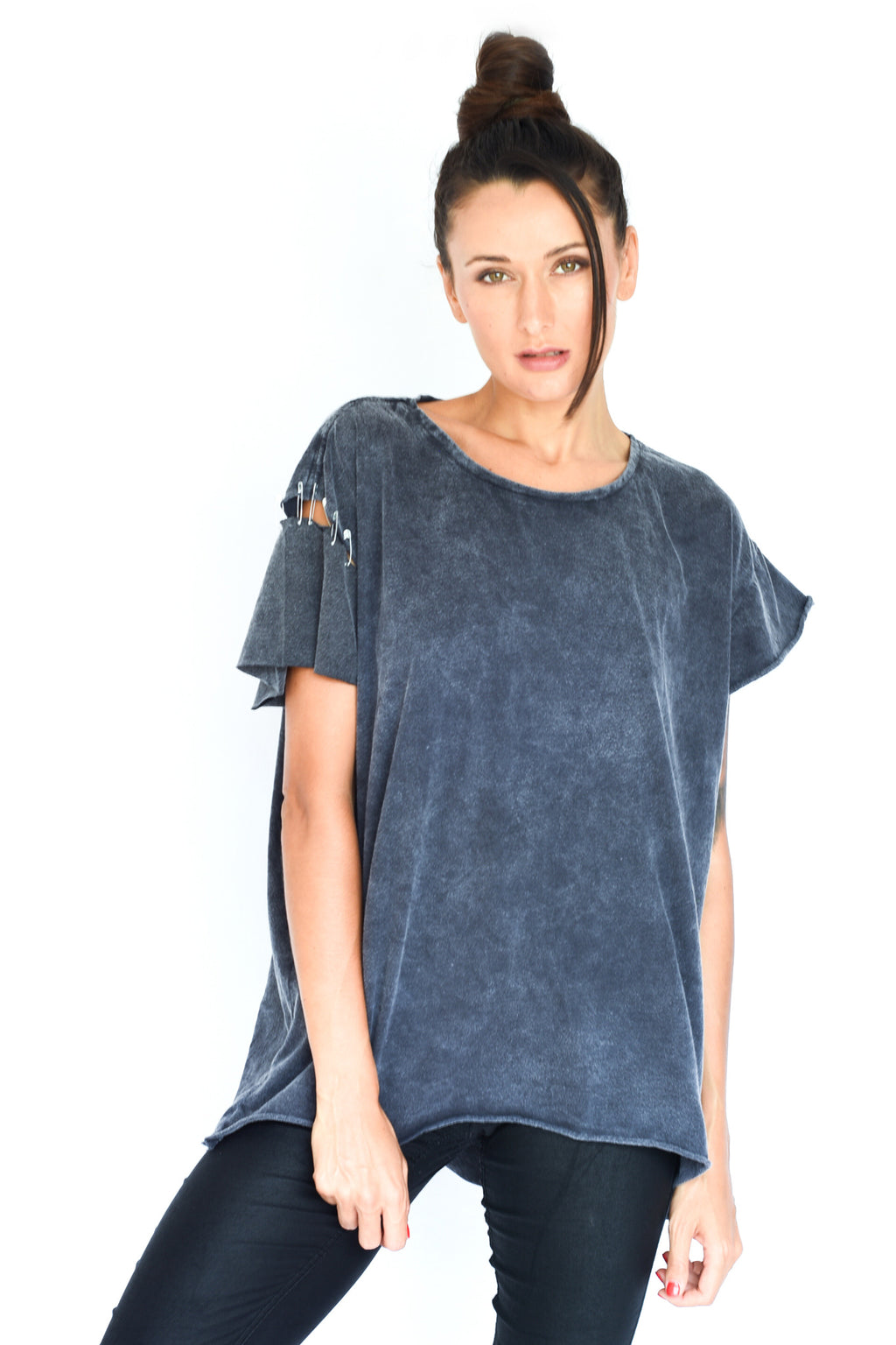 'WILD' CUT OUT TEE - CHARCOAL